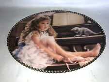"""Vintage Victorian Floral Chain Flue Flu Stove Cover Girl Playing Piano w Cat 11"""""""