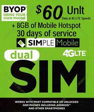 Simple Mobile preloaded sim with $60 dollar plan