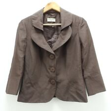 Kaliko Cropped Silk Blend Jacket Size 8 Brown 3/4 Sleeve Mother of the Bride