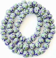 Ghana African Matched blue green Round Recycled glass trade beads