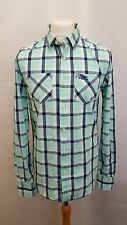 MENS SUPERDRY SHIRT - WHITE BLUE CHECK - SIZE M MEDIUM - LONG SLEEVE
