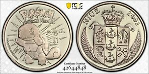 NIUE RARE 1$ UNC COIN 2001 YEAR KM#140 POKEMON SQUIRTLE PCGS GRADING MS67 POP 🥇