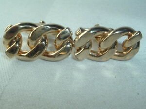 VINTAGE ANSON GOLD TONE INTERTWINED LINK CUFF LINKS