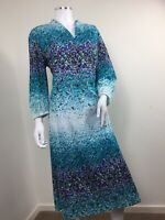 True Vintage Dress UK 14 Blue Purple Floral V Neck Kaftan 1970s Kio Mit Crone