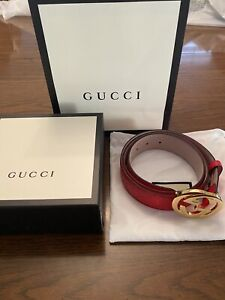 Golden Interlocking G Buckle Red Guccissima Belt, 105cm (Size 36 - 40)