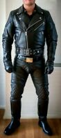 Men's Real Cowhide Leather Bikers Jacket Quilted Panels BLUF Jacket & Pants