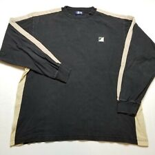 Vtg Stussy Mens Shirt L Black Brown Long Sleeve Faded Heavy made USA 90s T14