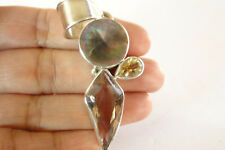 Ametrine Quartz Yellow Citrine Mother of Pearl 925 Sterling Silver Pendant