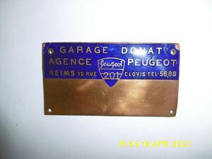 Plaque émaillée voiture ancienne garage Donat agence REIMS - PEUGEOT 201  (11cm)