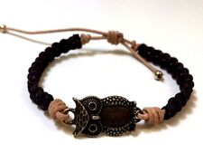 Owl Antique Bronze Brown Nylon Cord Beige Leather Bracelet - Design by Susie
