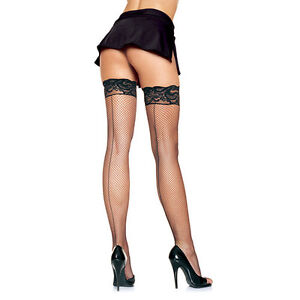 Tights Mesh Hosiery Stay Up Fishnet Black One Size Leg Avenue