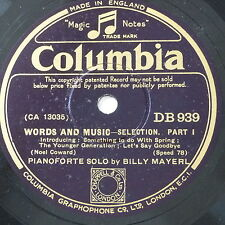 78rpm BILLY MAYERL words and music , selection , 1&2 , DB 939