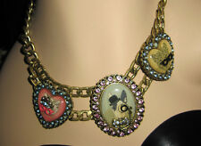BETSEY JOHNSON CRITTERS & COIN CAMEO DOG CAT AND TIGER NECKLACE