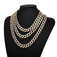 "18K Men Hip Hop Necklace Cuban Miami Chain Gold Choker Plated Link 15MM 8""-30"""