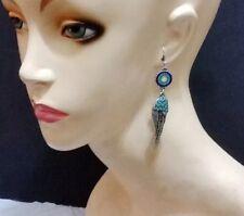 Silver Metal Dangle Earrings Feather Angel Wing Blue Sun Flower Design NEW