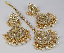 Indian Fashion jewelry new arrival white Kundan wedding Earring Tikka set women