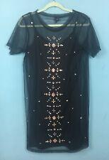 River Island Black Mesh Studded Emebellished T Shirt Mini Dress 10 - B45