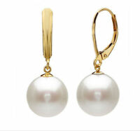 A pair of natural AAA 10-11MM Australian south sea white pearl earrings 14K Gold