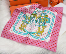 NIB 2017 HERMES POCKET SQUARE SILK BRIDES DE GALA LOVE PINK SCARF BIRKIN KELLY