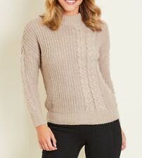 Crossroads Beige Long Sleeves Thick Knit High Neck Jumper Size 18