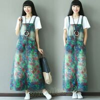 Womens Vintage Denim Washed Printed Overall Maxi Slip Dress Jeans Suspenders New