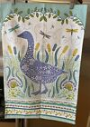 Ulster Weavers Cotton Tea Towel-W/Tag-Woodland Goose-Pussywillows W/Dragonflies