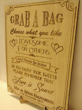 Wedding Sweet Table Sign Vintage Shabby Chic Laser Engraved with Stand