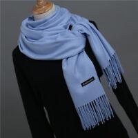 Grand Foulard/Châle/Écharpe,Homme,Femme,100%Cachemire,Bleu,Tissu Fin,Élégant,FR