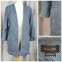 MASSIMO DUTTI blue white linen cotton duster jacket pockets womens Medium UK 12