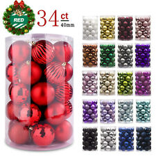 Christmas Ball Ornaments, Shatterproof Christmas Decorations Tree Balls 40mm Red