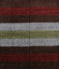 Striped Design 10 ft Square Gabbeh Nepali Oriental Area Rug Modern Hand-Knotted