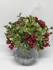 GANZ Crystal Kissing Ball Ornament With Red Berries And Mistletoe Xmas Small