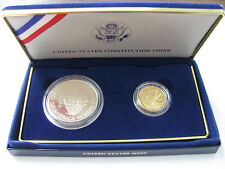 1987 US Mint 2 Coin US Constitution $5 Gold and $1 Silver Proof Set with COA