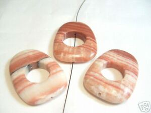 3 x Red Malachite Jasper Beads : BNRMJ06 Oblong Donut