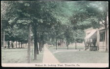 TITUSVILLE PA Walnut Street Looking West Antique Town View Postcard Vtg 1908 PC