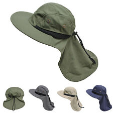 Mens Womens Wide Brim Outdoor Sun Neck Protection Fishing Flap Hat T202