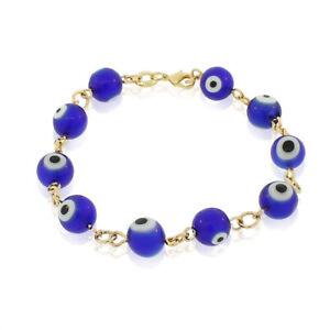Fashion 18K Yellow Gold Filled Beaded Evil Eye Protection Blue Link Bracelet