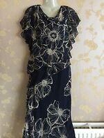 NEW ladies  cattiva 100% silk tiered Navy pattern dress  size:10 UK