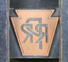 Letterpress Print Cut 66pt Pennsylvania Railroad Keystone Logo Train S76 1