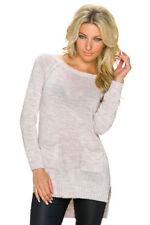 Maglioni e cardigan a manica lunga da donna beige in lana