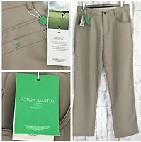 Aston Martin Mens Golf Trousers Size 28W x 31L Beige Designer Smart Sports NEW
