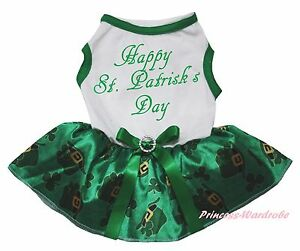 Happy St Patrick Day White Top Green Clover Hat Skirt Pet Dog Puppy Cat Dress