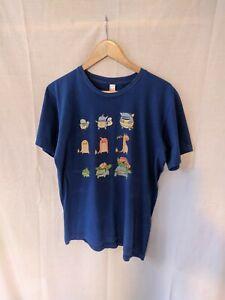Pokémon American Apparel Print T-Shirt. Medium. Blue. Cool Charizard Squirtle