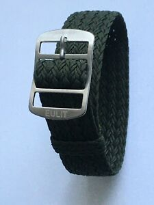 Eulit Atlantic Perlon Uhrenarmband  Modell Eulit - Atlantic oliv 20 mm Band