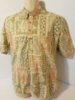 Cooke Street Honolulu Floral Pocket 3 Button  Hawaiian Camp Shirt Large
