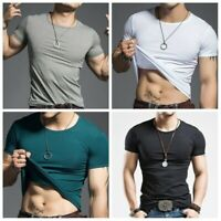 Men Gym T-shirt Bodybuilding Short Sleeve Compression Muscle Fit Tight Top Basic