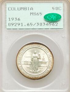 Columbia Commemorative Half Dollar. 50c 1936. PCGS MS65. CAC. Rattler. OGH.