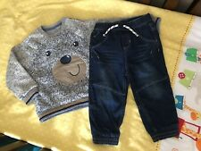 Boys Outfit 12-18 Months Bear Jumper And Denim Trousers Excellent Condition