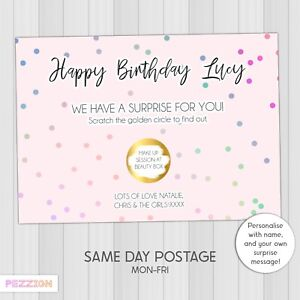 Personalised Birthday Scratch Card Surprise Gift Reveal Voucher Holiday Concert