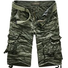 Men's Punk Army Military Style Camouflage Camo Capri Cargo Shorts Pants Trousers